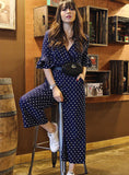 Tiered Flare Sleeve Surplice Wrap Polka Dot Jumpsuit V Neck Half Sleeve Women Jumpsuit