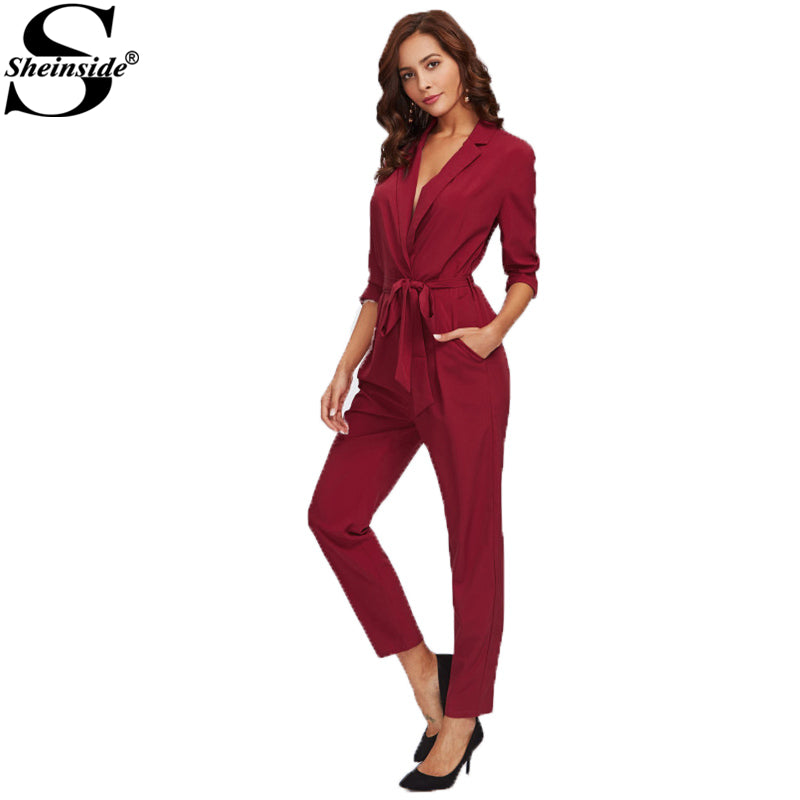 Wrap & Tie Detail Tailored Jumpsuit Burgundy V Neck Long Sleeve Ladies Work Jumpsuit