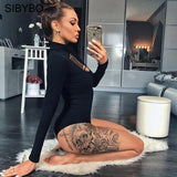 Hollow Out Turtleneck Bodysuit Women Winter Autumn Slim Long Sleeve Bodycon Playsuits Rompers Jumpsuit