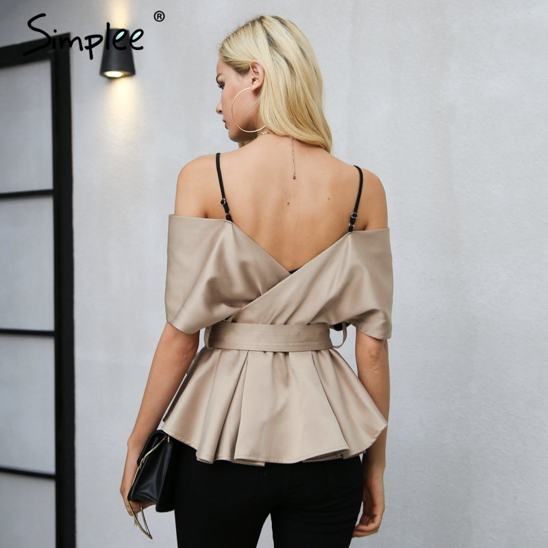 Backless V Neck Blouse Shirt Women Tops Satin Sash Bow Blouse Chemise Zipper Blouse
