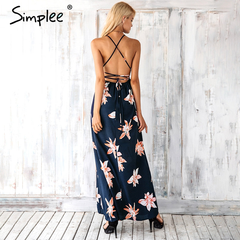 Boho Deep V Neck Backless Dress Split Cross Lace Up Chiffon Summer Beach Long Dress Sleeveless Maxi Dress