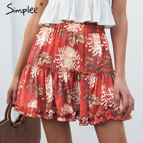 Ruffle Boho Chic Wrap Floral Print Mini Skirt Plaid Mermaid Casual High Waist Short Skirt Summer