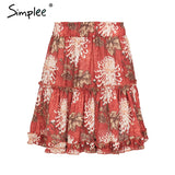 Boho Floral Print Mini Skirt Elastic Waist Tiered Ruffle Short Skirt A-line Casual Beach Summer Skirt