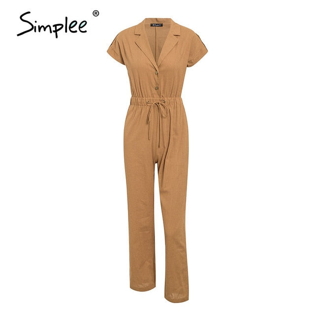 Casual High Waist Lace Up Women Jumpsuits Buttons Wide Leg Playsuits Romper Spring Summer Office Overalls
