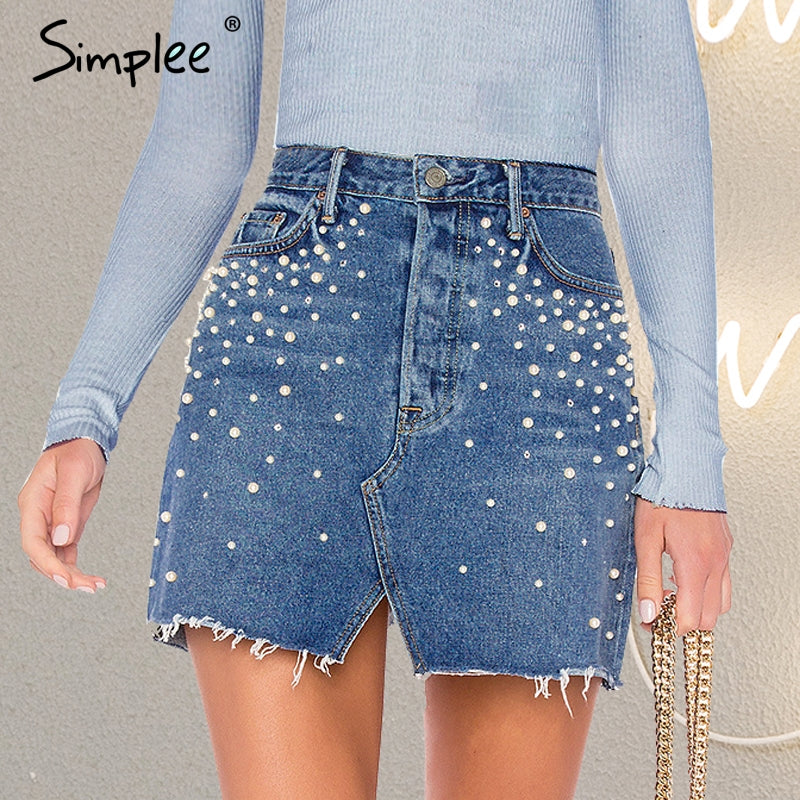 6bad04b5c7 ... Casual Split Pearls Denim Women Button Skinny Diamond Mini Skirt  Streetwear Chic Korean Summer Jeans Skirt ...