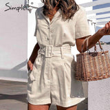 Simplee Sash Belt Women Playsuits Short Sleeve Buttons Cotton Linen Romper Jumpsuit Spring Summer Overalls