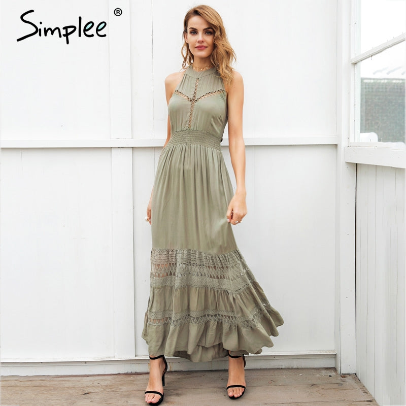 Halter Hollow Out Long Summer Dress Women Backless Tie Up Bow Maxi Spring Lace Dress