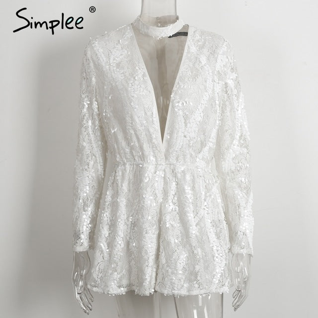 f51c08d30d4 ... Halter White Lace Sequined Jumpsuit Romper Women V Neck Long Sleeve  Overalls Summer Beach Playsuit ...
