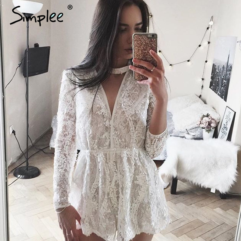 Halter White Lace Sequined Jumpsuit Romper Women V Neck Long Sleeve Overalls Summer Beach Playsuit