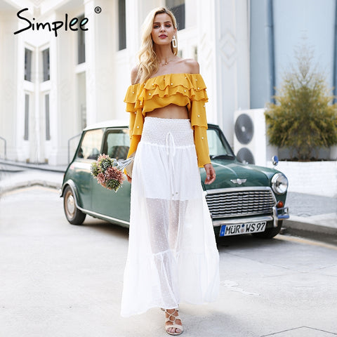 Long Skirt Women Elastic Smocking White Lace Skirt Summer Transparent High Waist Maxi Skirt