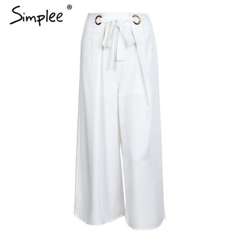 Metal Ring Tie Up Wide Leg Pants Women Capris Chic Streetwear Casual Pants Spring Summer Beach Elastic Trousers