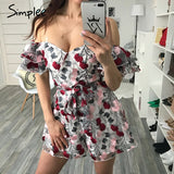 Off Shoulder Floral Embroidery Lace Jumpsuit Ruffle Sleeve Mesh Sash Casual Summer Jumpsuit Romper