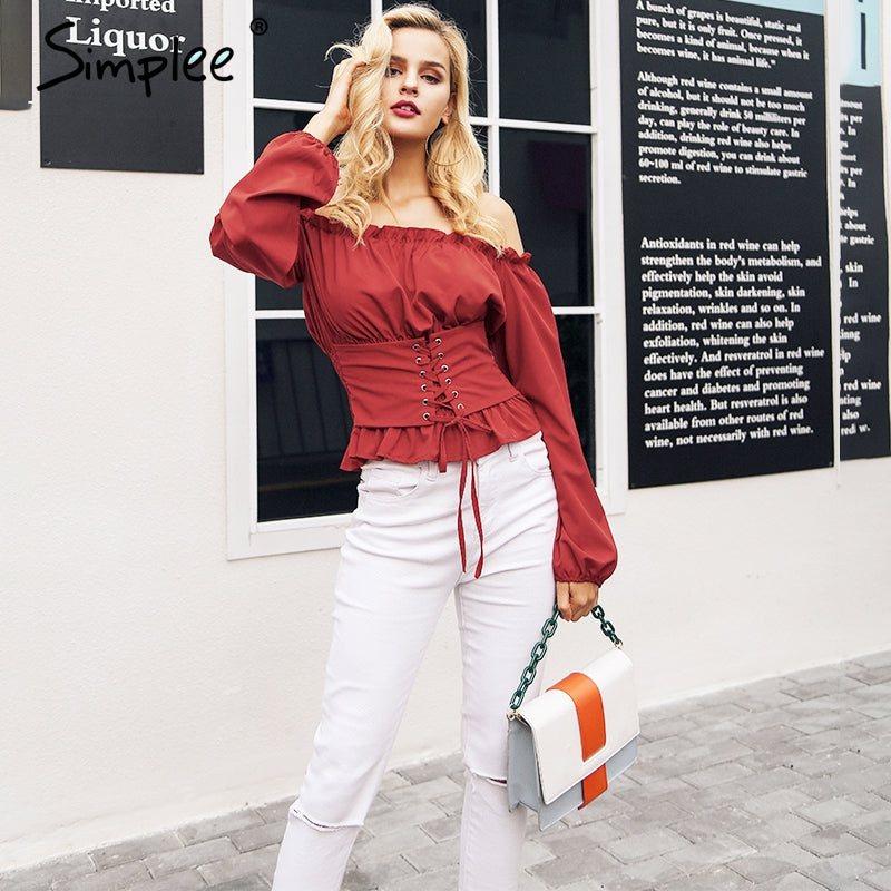Off Shoulder Lace Up Blouse Shirt Women Ruffle Long Sleeve Blouse Tops Vintage Summer White Blouse