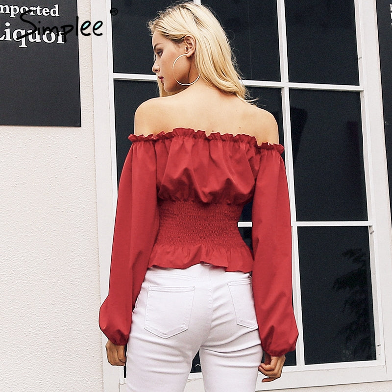4e56c0bc4b2 ... Off Shoulder Lace Up Blouse Shirt Women Ruffle Long Sleeve Blouse Tops  Vintage Summer White Blouse ...