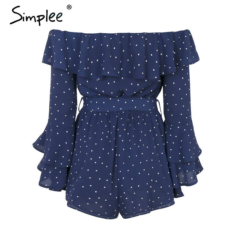Off Shoulder Ruffle Dot Romper Women Flare Sleeve Sash Summer Jumpsuit Casual Sweet Chiffon Playsuit