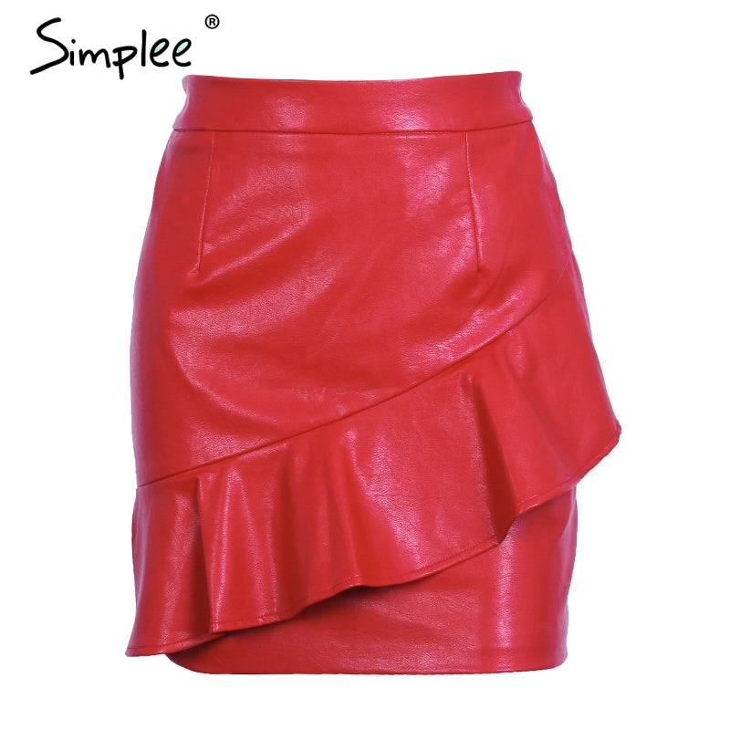 Ruffle Black Short Leather Skirt High Waist Streetwear Red Women Bottom Chic Autumn Mini Skirts