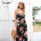Floral Print Strap Backless Women Solid Tie Up Bow Flare Opening Playsuits Summer Beach Loose Jumpsuit