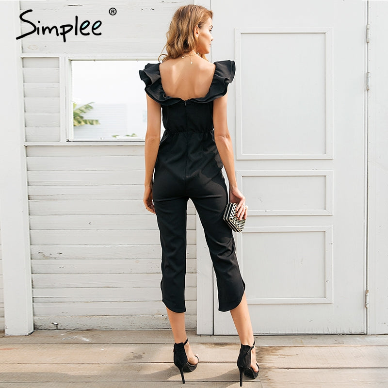 Off Shoulder Backless Black Women Tiered Ruffle High Waist Jumpsuit Romper Pocket Casual Overall