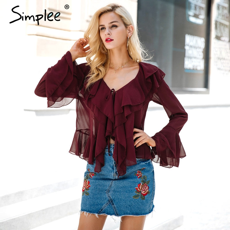 Ruffle Chiffon Blouse Shirt Autumn Flare Sleeve Deep V Neck Women Casual Transparent Streetwear Blouse