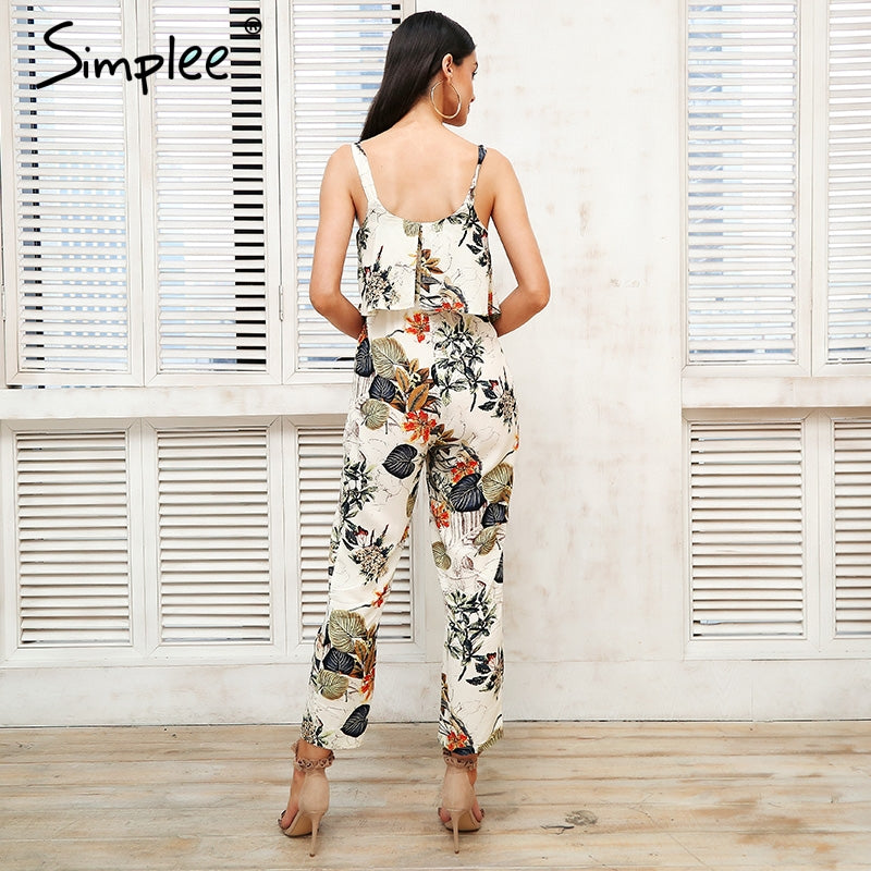 Strap Floral Print Women Loose Ruffle Boho Romper Casual Beach Summer Jumpsuit