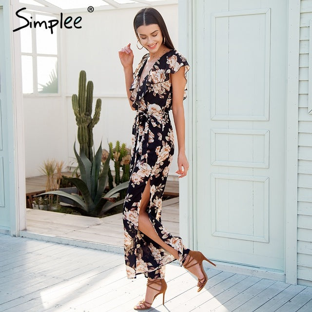 V Neck Tiered Ruffle Chiffon Women Side Split Loose Black Jumpsuit Romper Sash Summer Playsuit