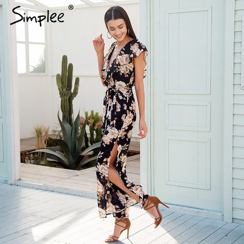 f9d7a52a88a3 V Neck Tiered Ruffle Chiffon Women Side Split Loose Black Jumpsuit Romper  Sash Summer Playsuit