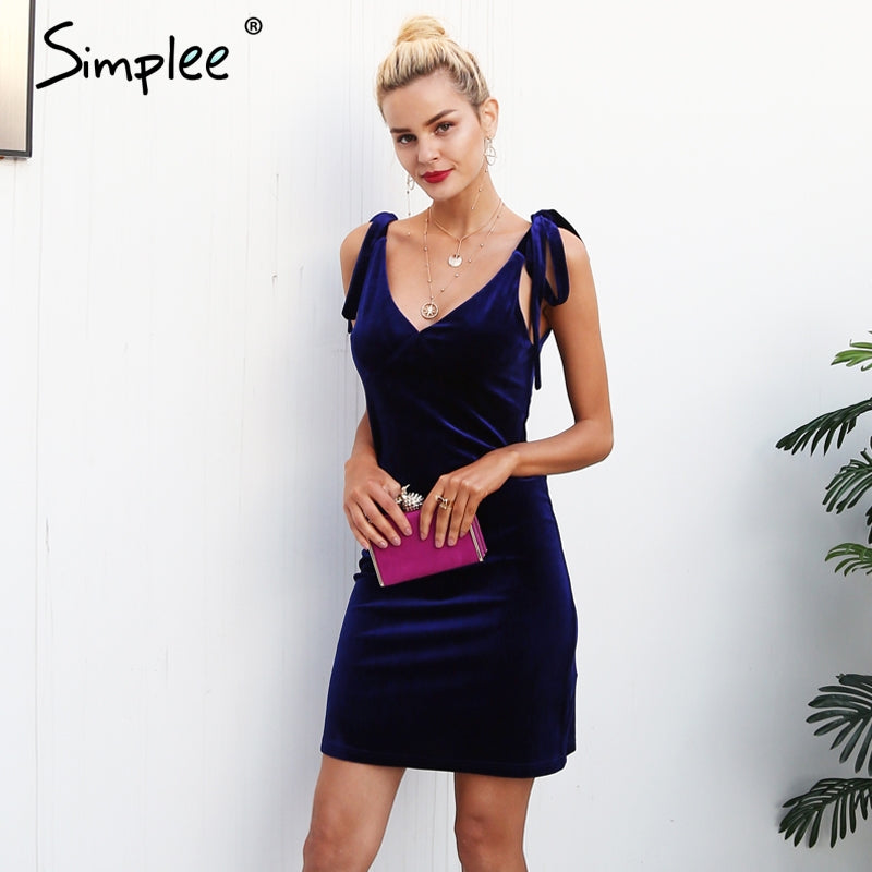 Strap Tie Up Velvet Dress Women V Neck Casual Short Winter Red Mini Dresses
