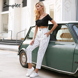Streetwear Striped Harem Pants Capri Ruffle Loose Casual Summer Trousers High Waist Pants Bottom