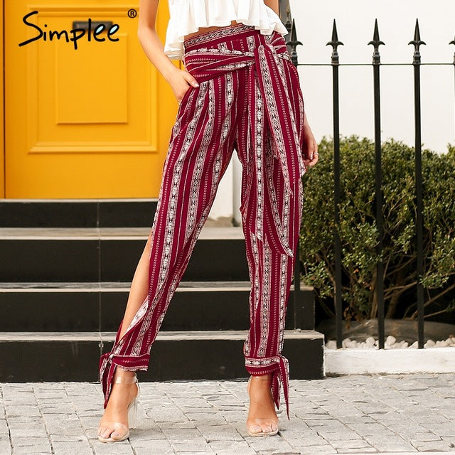 Striped Print Harem Pants Capri High Split Loose Casual Women Bottom Sash Summer Trousers High Waist Pants