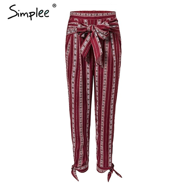 64dfb8667fa ... Striped Print Harem Pants Capri High Split Loose Casual Women Bottom  Sash Summer Trousers High Waist ...