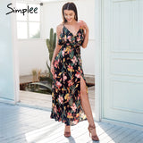 V Neck Ruffle Floral Print Summer Dress Women Backless Strap Boho Long Sleeveless Split Maxi Beach Dress