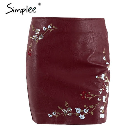 Vintage Embroidery Leather Skirt Women Elegant Zipper PU Pencil Skirt Autumn Streetwear Mini Skirt