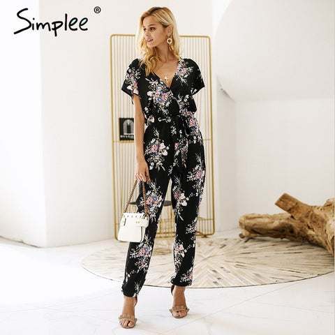 Jumpsuits Women Bell Sleeve Plunge Neck Self Belted Palazzo Half Sleeve Floral Jumpsuit