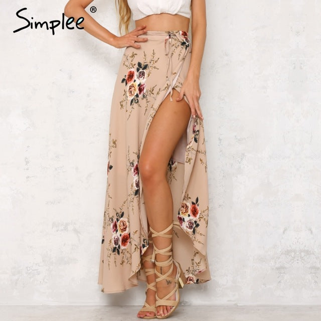 Vintage Floral Print Long Skirts Summer Beach Maxi Skirt Boho High Waist Asymmetrical Skirt