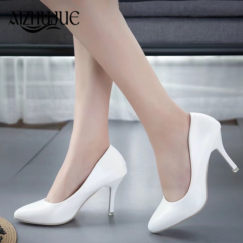 27c3bfcf6668 ... Women Pumps Prom Party Shoes Classic White Black Pink Light Green  Office High Heels ...