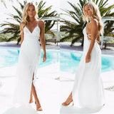 Women Summer Boho Chiffon Party Evening Beach Sleeveless White Backless Dresses Long Maxi Dress Sundress