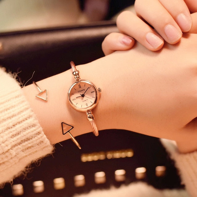 Small Gold Bangle Bracelet Watches Stainless Steel Retro Quartz Wristwatches Women Watch