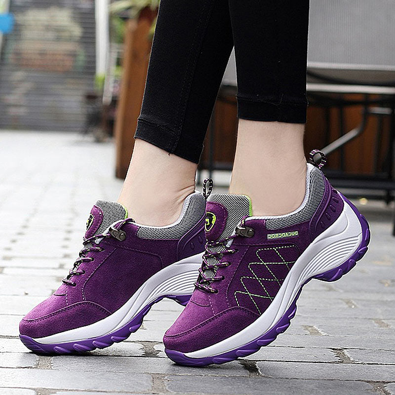 Sneakers Women Casual Shoes Lace-up Platform Wedge Non-slip Sport Tennis Shoes