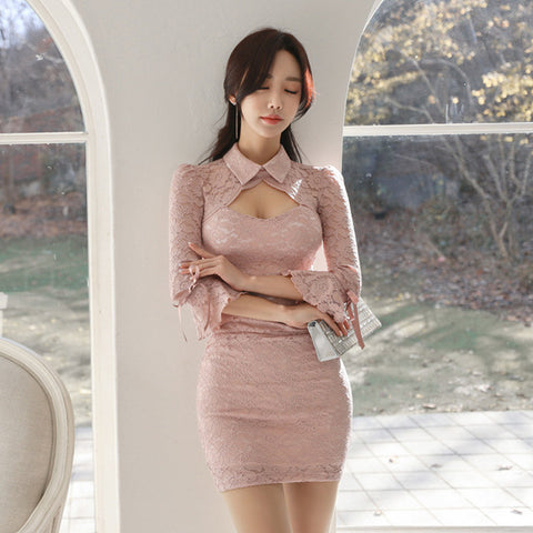 Summer Women Bandage Dress Plus Size Pink Turn-down Collar Vintage Lace Bodycon Hollow Out Mini Dresses