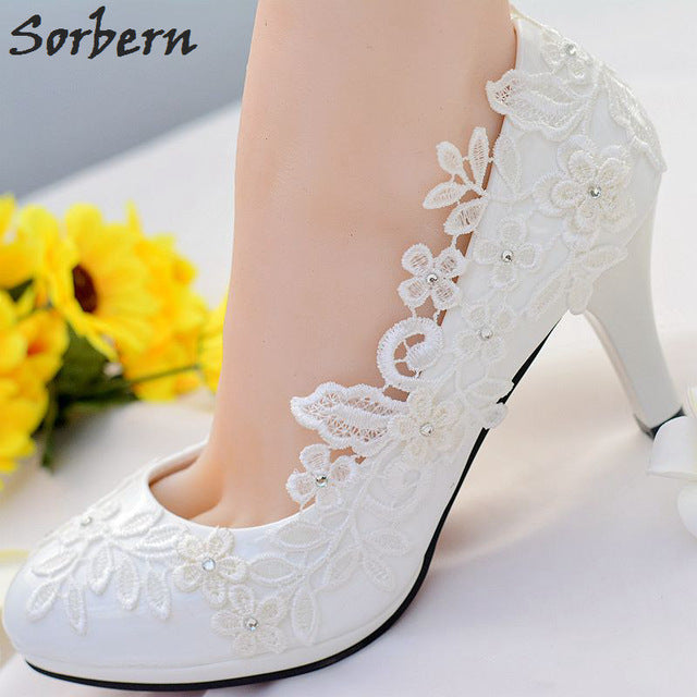 White Lace Flower Wedding Shoes Slip On Round Toe Bridal Shoes High Heel Pumps Shallow