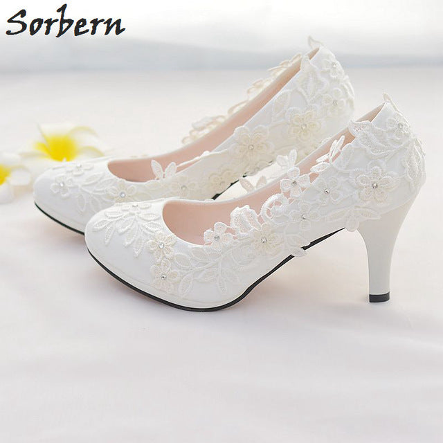 ef73dbb99aa ... White Lace Flower Wedding Shoes Slip On Round Toe Bridal Shoes High Heel  Pumps Shallow ...