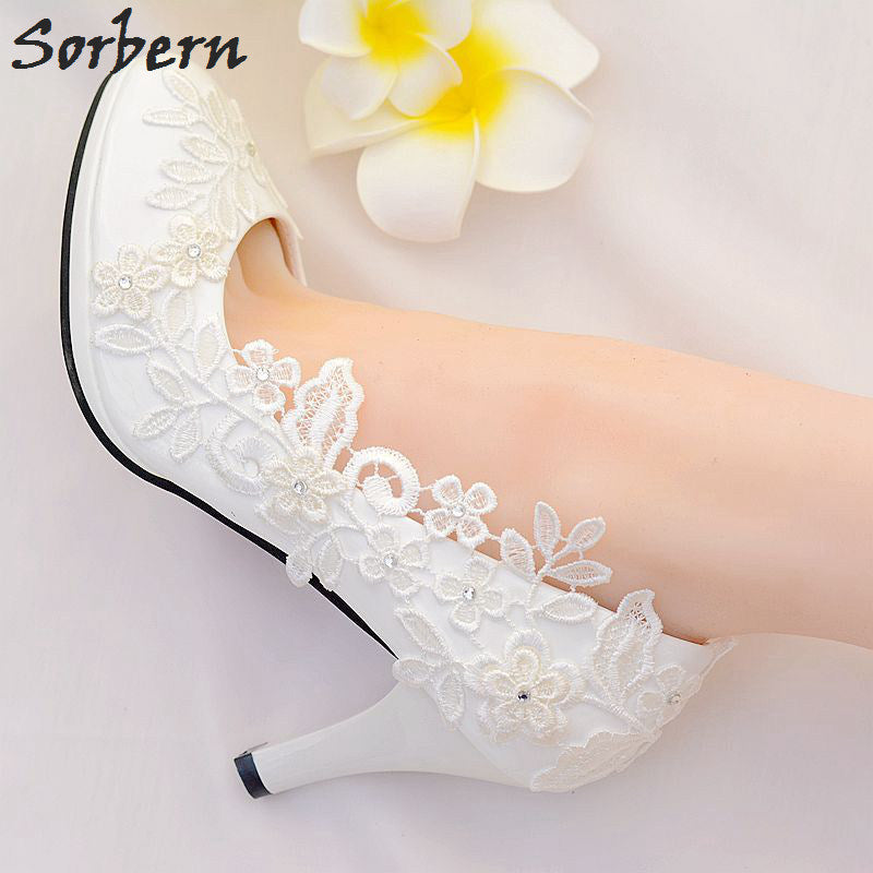 ... White Lace Flower Wedding Shoes Slip On Round Toe Bridal Shoes High  Heel Pumps Shallow ...