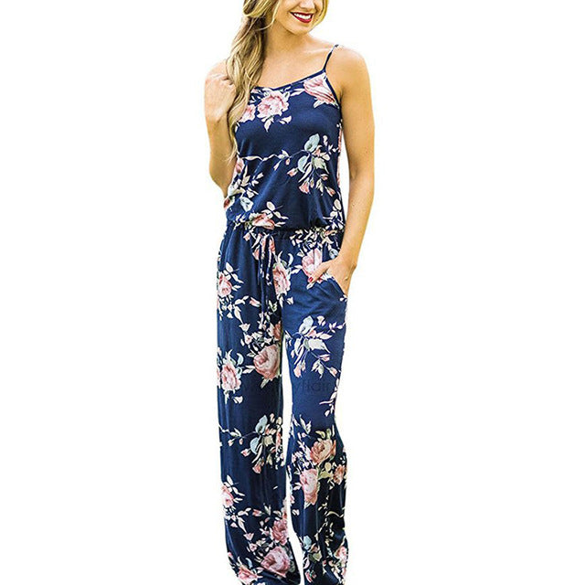 Spaghetti Strap Women Summer Long Pants Floral Print Rompers Beach Casual Jumpsuits Sleeveless Sashes Playsuits