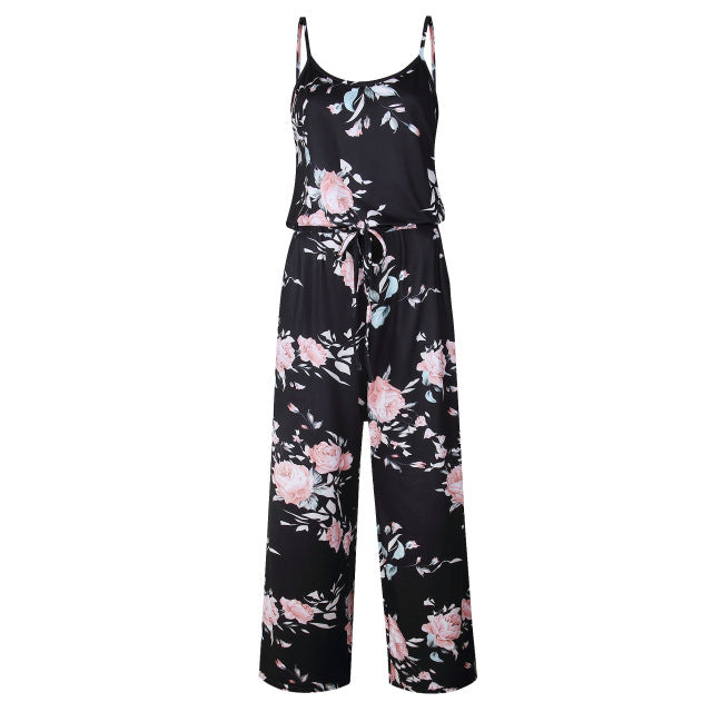 71fed483e427 Spaghetti strap women summer long pants floral print rompers beach casual  jumpsuits sleeveless sashes playsuits jpg