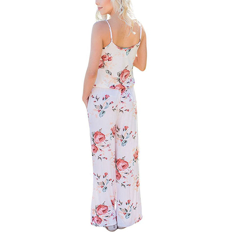 ac07b3a10456 ... Spaghetti Strap Women Summer Long Pants Floral Print Rompers Beach Casual  Jumpsuits Sleeveless Sashes Playsuits ...