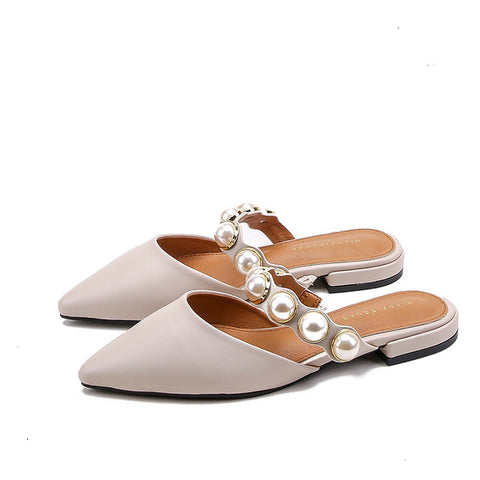Spiked Flat-soled Slippers Women Summer Slippers Female Retro-style Rough Heels Low Heels