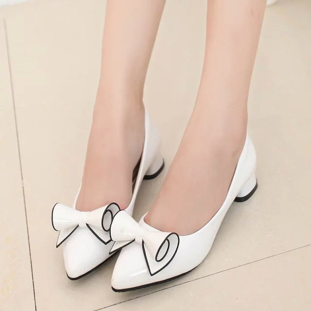 Spring Autumn Women Boat Shoes Low Heels Pump Pointed Toe Slip on Office Bowtie Shoes