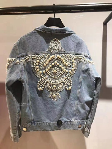 Spring Autumn Women Cool Pearls Beading Denim Jacket Loose Jeans Coats Pockets Streetwear Outerwear