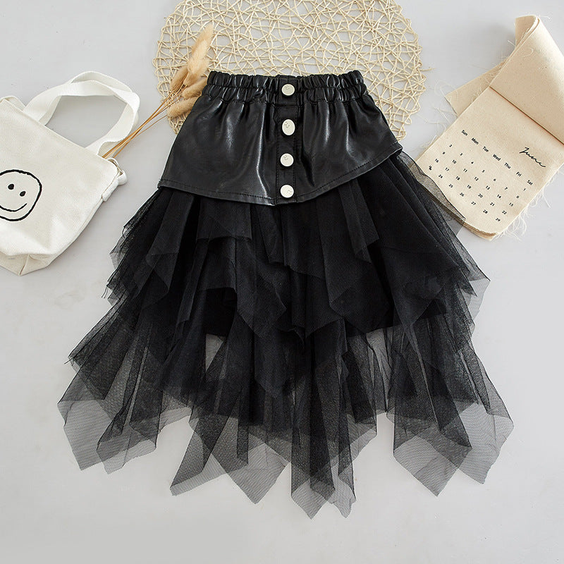 Spring Autumn Girls Tutu Skirt Baby PU Kids Skirt Children Streetwear Bottoms Layered Mesh Snap