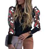 Spring Puff Sleeve Mesh Tops Women Skinny T Shirt Lace Perspective Long Sleeve Pullovers Spring